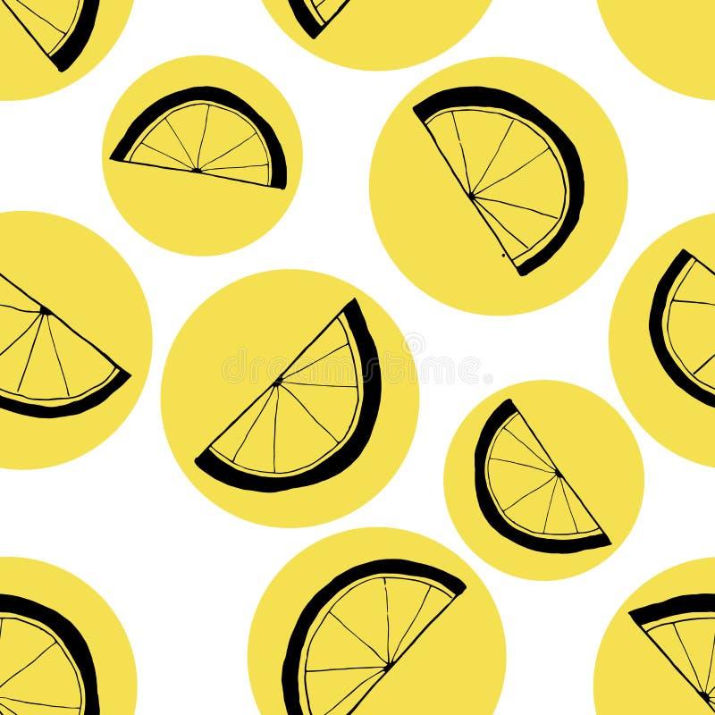 Bezszwowy wzór plasterki cytryny Czarny liniowy rysunek na żółtych okręgach royalty ilustracja