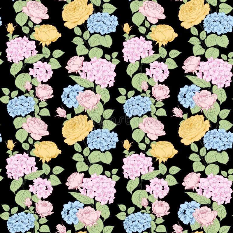 Bezszwowy wzór różany i hortensja kwitnie na czarnym tle Luksusowa sztuka wiosna kwiaty royalty ilustracja