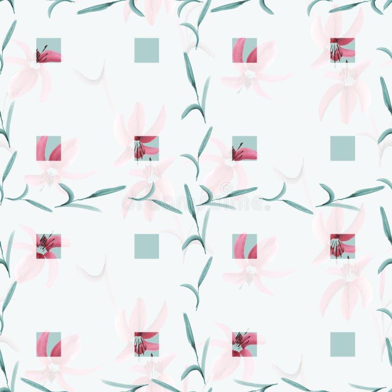 Bezszwowy wzór różowe leluje w na lekkim turkusowym tle turkusowi okno z komórką rośliny akwarela ilustracji