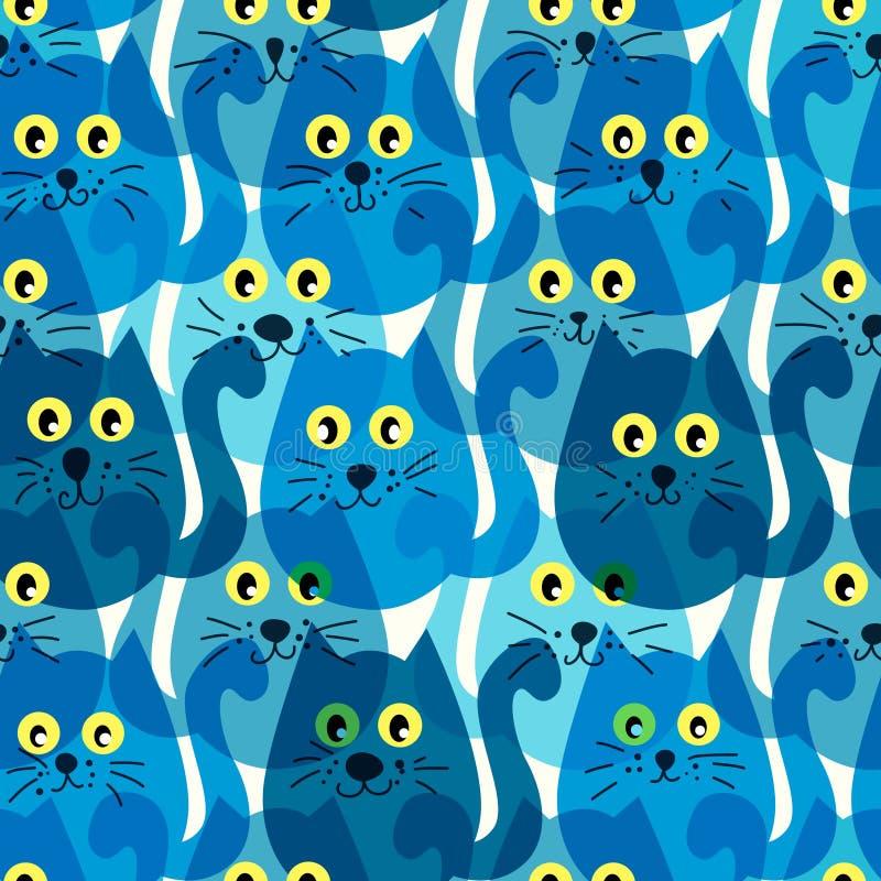 Bezszwowy wzór z ślicznymi błękitnymi kotami ilustracja wektor