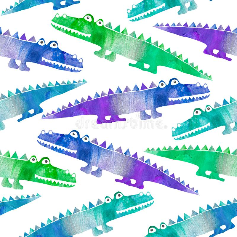 Bezszwowy wzór z ślicznymi krokodylami ilustracja wektor