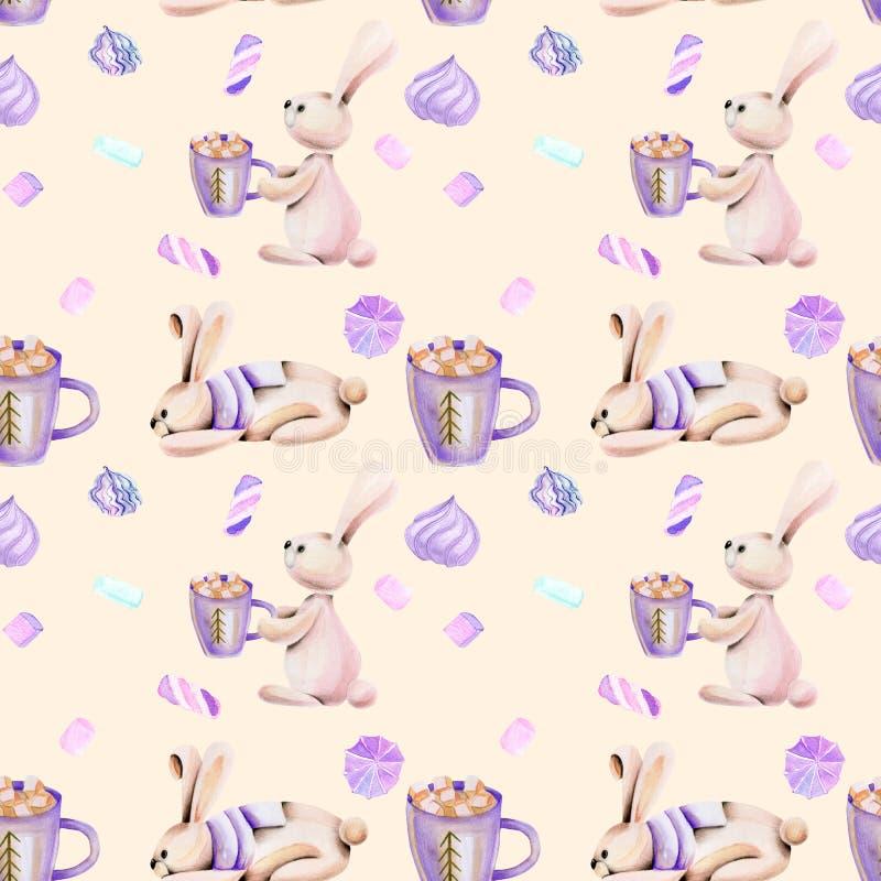 Bezszwowy wzór z akwarela ślicznymi królikami marshmallow i royalty ilustracja