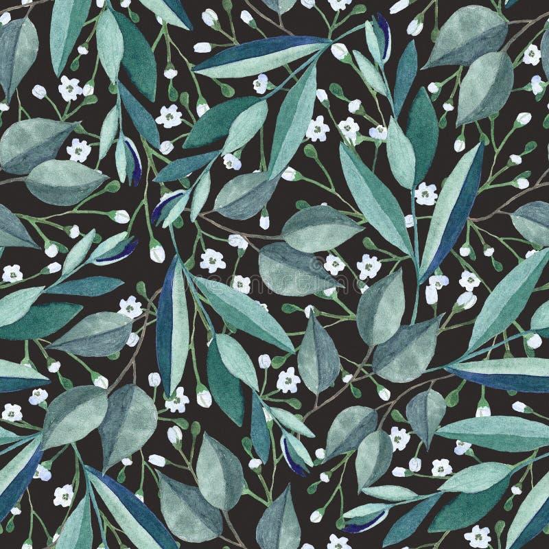 Bezszwowy wzór z akwarela kwiatami i gałąź ilustracji