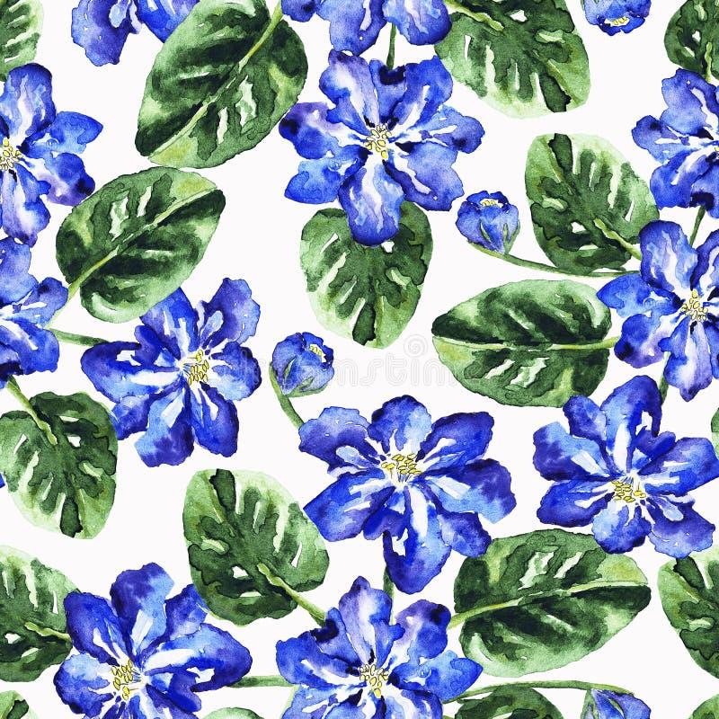 Bezszwowy wzór z akwarela liśćmi i kwiatami zdjęcia stock