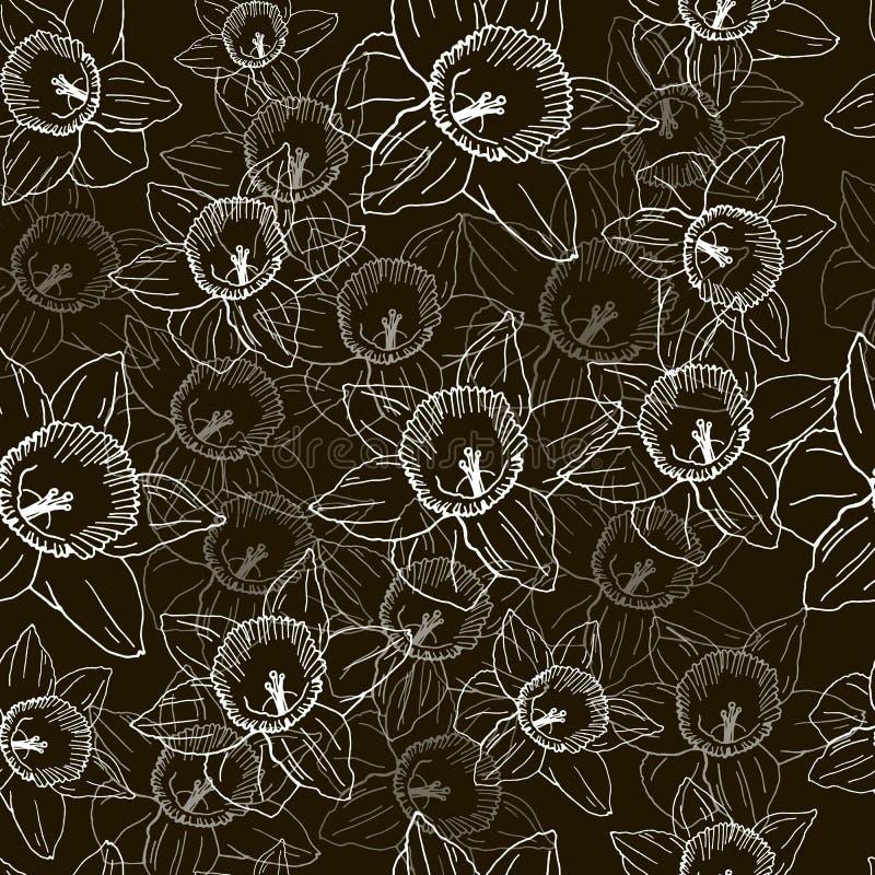 Bezszwowy wzór z białymi daffodils na czarnym tle royalty ilustracja
