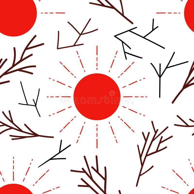 Bezszwowy wzór z czerwonym słońcem i gałąź royalty ilustracja