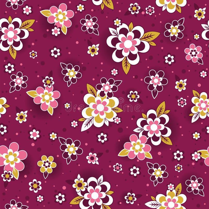 Bezszwowy wzór z dekoracyjnymi kwiatami bezszwowy kwiecisty wzoru Powtarzalny purpurowy naturalny tło Może używać dla tkaniny, royalty ilustracja