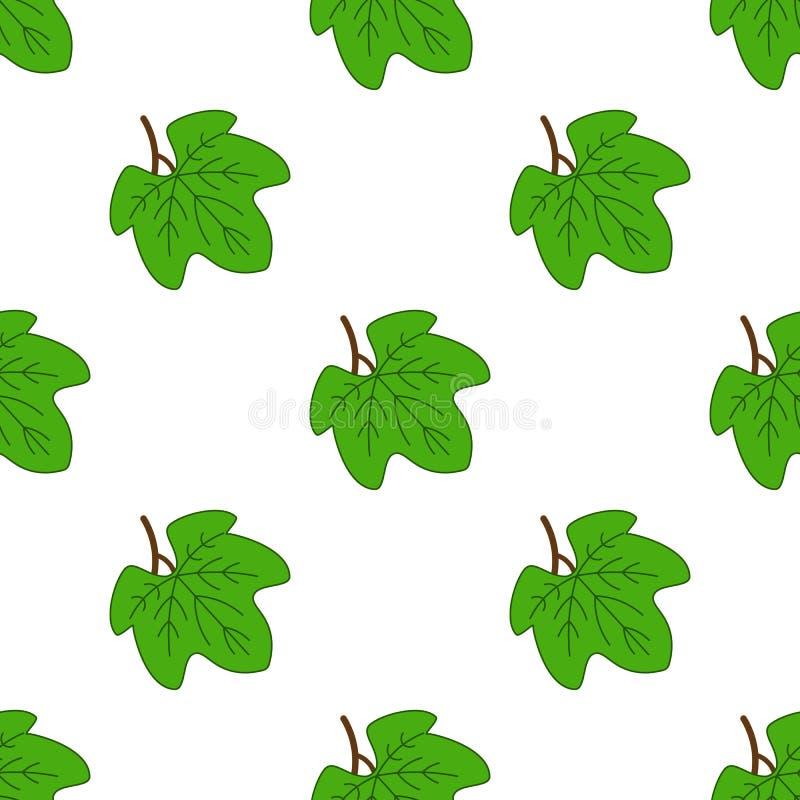 Bezszwowy wzór z gronowymi liśćmi Abstrakcjonistyczna sylwetka klonów liści tekstura ilustracja wektor