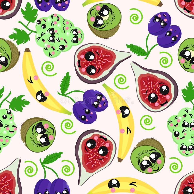 Bezszwowy wzór z kiwi, banan, śliwka, winogrona, figi - wektorowa ilustracja, eps royalty ilustracja