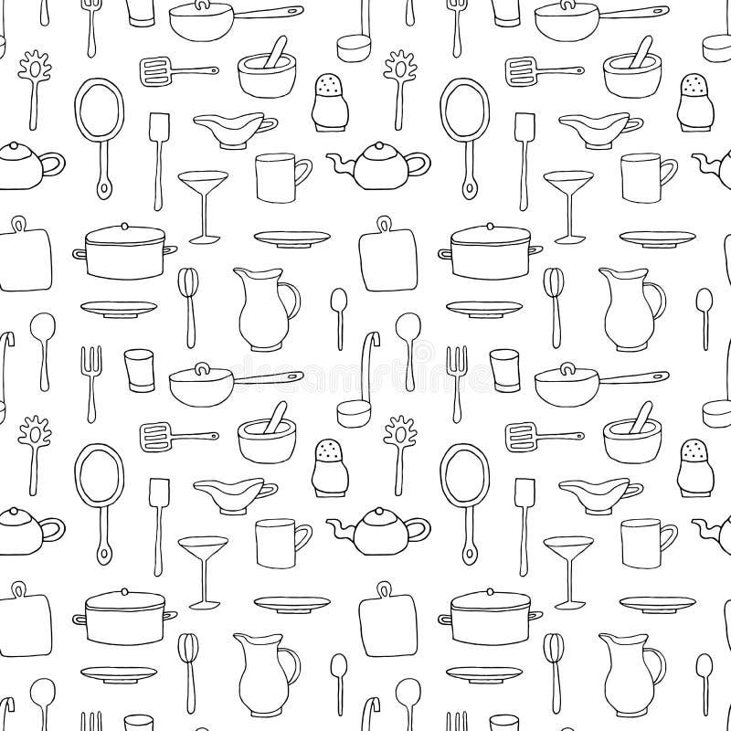 Bezszwowy wzór z kreskówek kuchennymi narzędziami ilustracja wektor