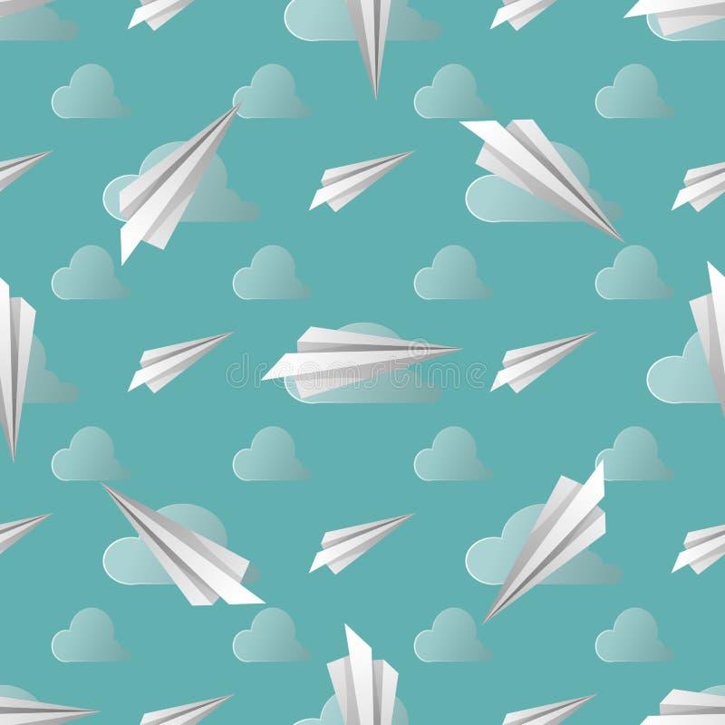 Bezszwowy wzór z papierowymi samolotami również zwrócić corel ilustracji wektora kolorów strzałek głębii pola płycizny miękka czę royalty ilustracja
