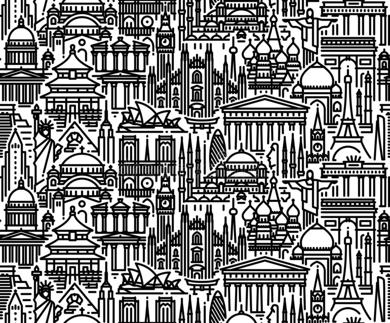 Bezszwowy wzór z pejzażem miejskim światy najwięcej popularnych atrakcji turystycznych Nowożytny mieszkanie linii wektoru tło ilustracji