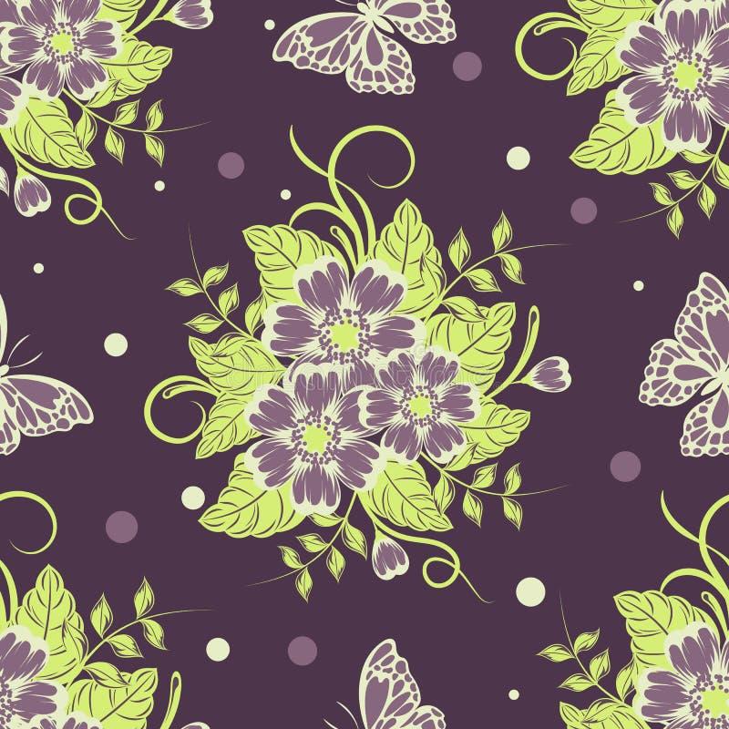 Bezszwowy wzór z pięknymi kwiatami i motylami również zwrócić corel ilustracji wektora ilustracja wektor