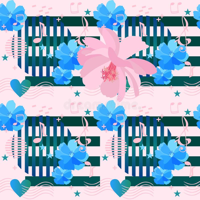 Bezszwowy wzór z prostymi elementami w Memphis stylu, muzykalnych symbolach, sercach, gwiazdach i pięknych kosmosach, różowych i  ilustracja wektor