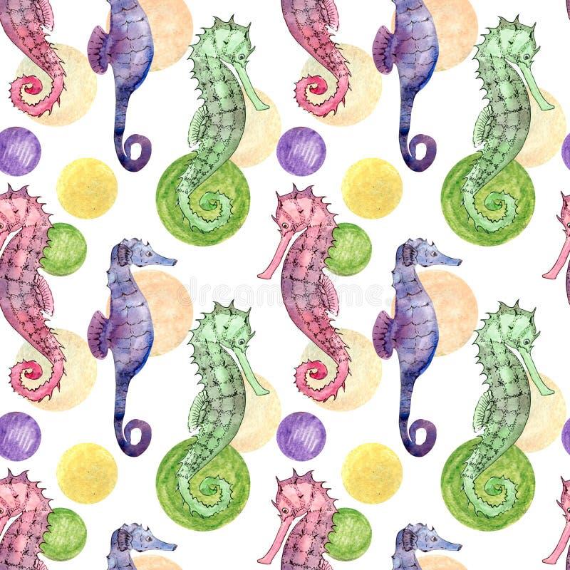 Bezszwowy wzór z seahorse ilustracja wektor
