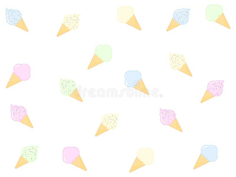 Bezszwowy wzór z smakowitym lody na białym tle ilustracja wektor