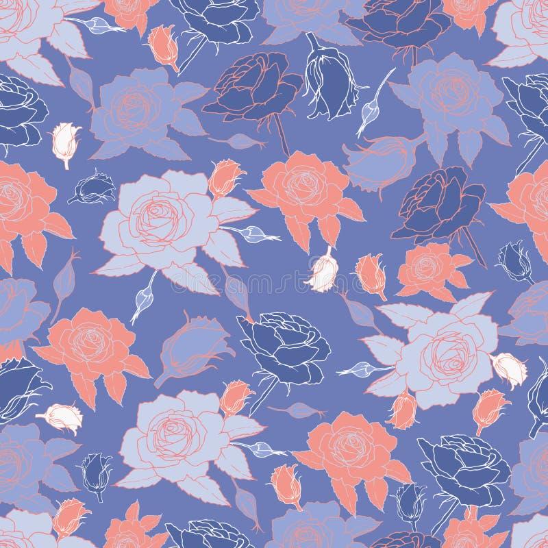 Bezszwowy wzór z stylizowanymi róża kwiatami royalty ilustracja