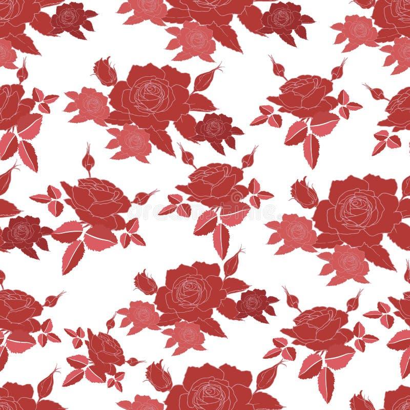 Bezszwowy wzór z stylizowanymi róża kwiatami ilustracji