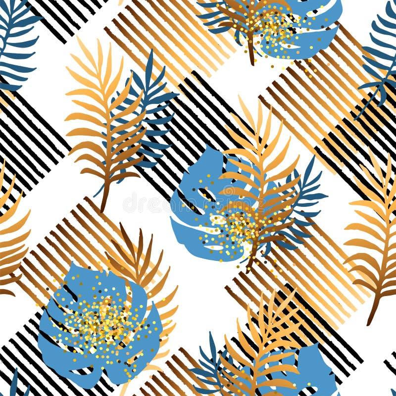 Bezszwowy wzór z tropikalnymi błękitnymi i złotymi liśćmi, lampasy royalty ilustracja