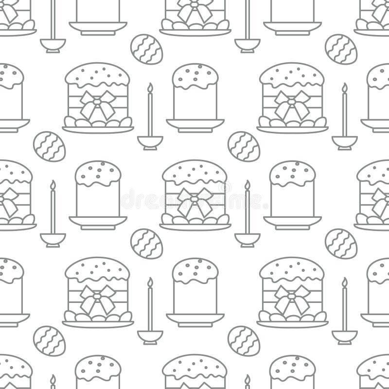 Bezszwowy wzór z Wielkanocnymi tortami, świeczka, jajka royalty ilustracja