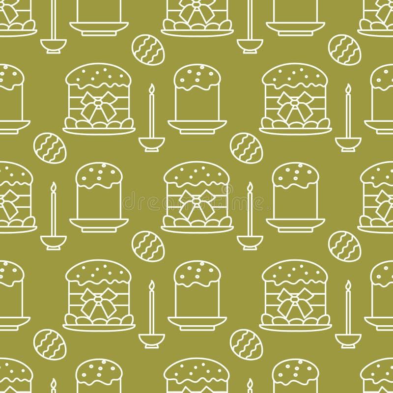 Bezszwowy wzór z Wielkanocnymi tortami, świeczka, jajka ilustracja wektor