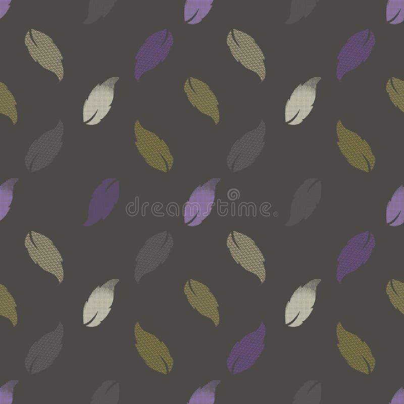 Bezszwowy wzór z wzorzystymi liśćmi Powikłany ilustracyjny druk w, khaki, royalty ilustracja
