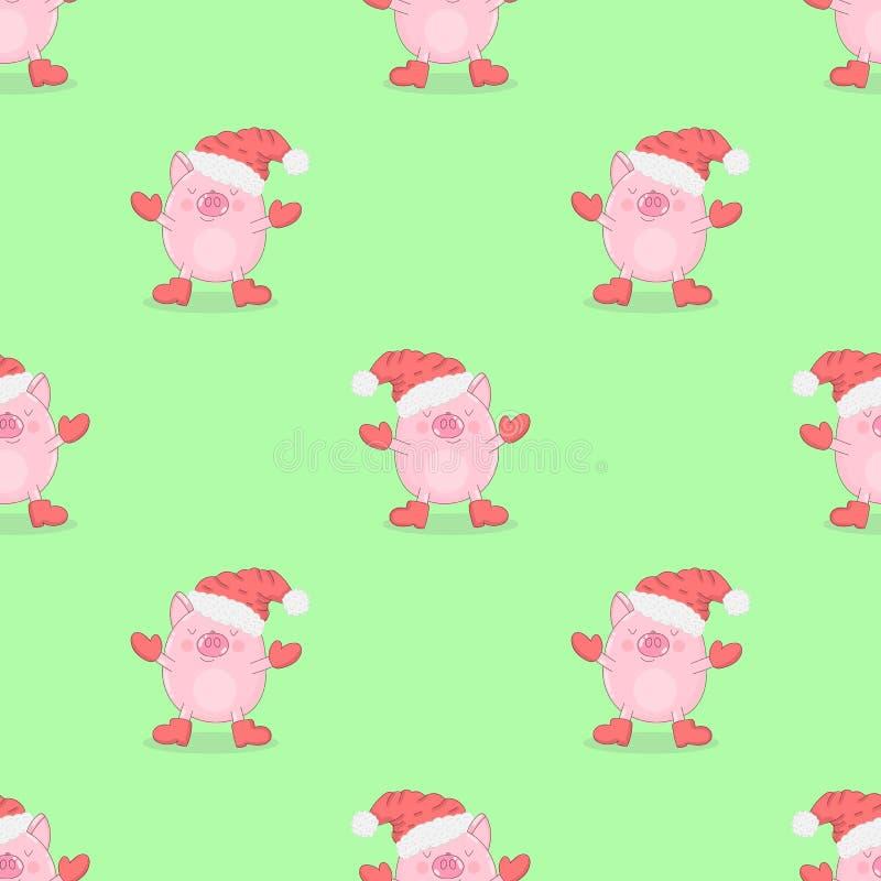 Bezszwowy wzór śliczne świnie w zimie odziewa na odosobnionym zielonym tle Wektorowa ilustracja prosiątko dla nowego roku, prin ilustracja wektor