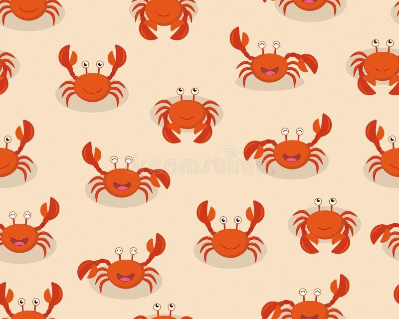 Bezszwowy wzór ślicznej kreskówki czerwoni kraby na plażowym tle obraz royalty free