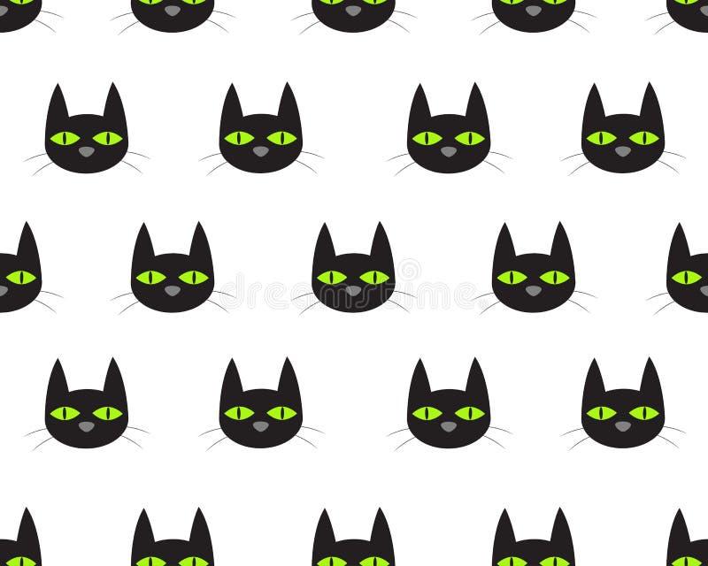 Bezszwowy wzór ślicznej twarzy czarny kot ilustracja wektor