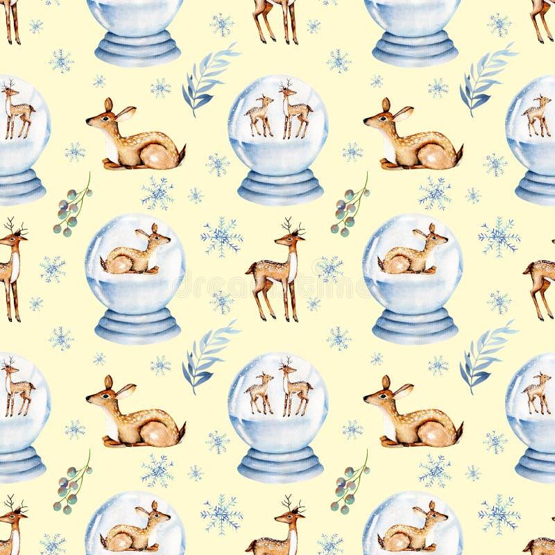 Bezszwowy wzór śliczni akwareli deers wśrodku Bożenarodzeniowej śnieżnej szklanej piłki obraz royalty free