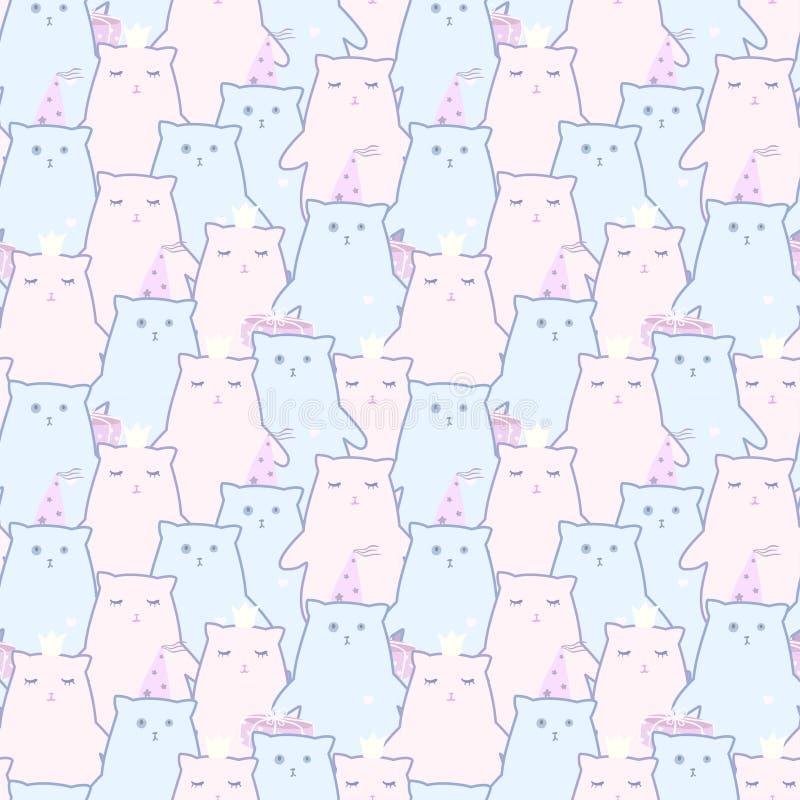 Bezszwowy wzór śliczni koty royalty ilustracja
