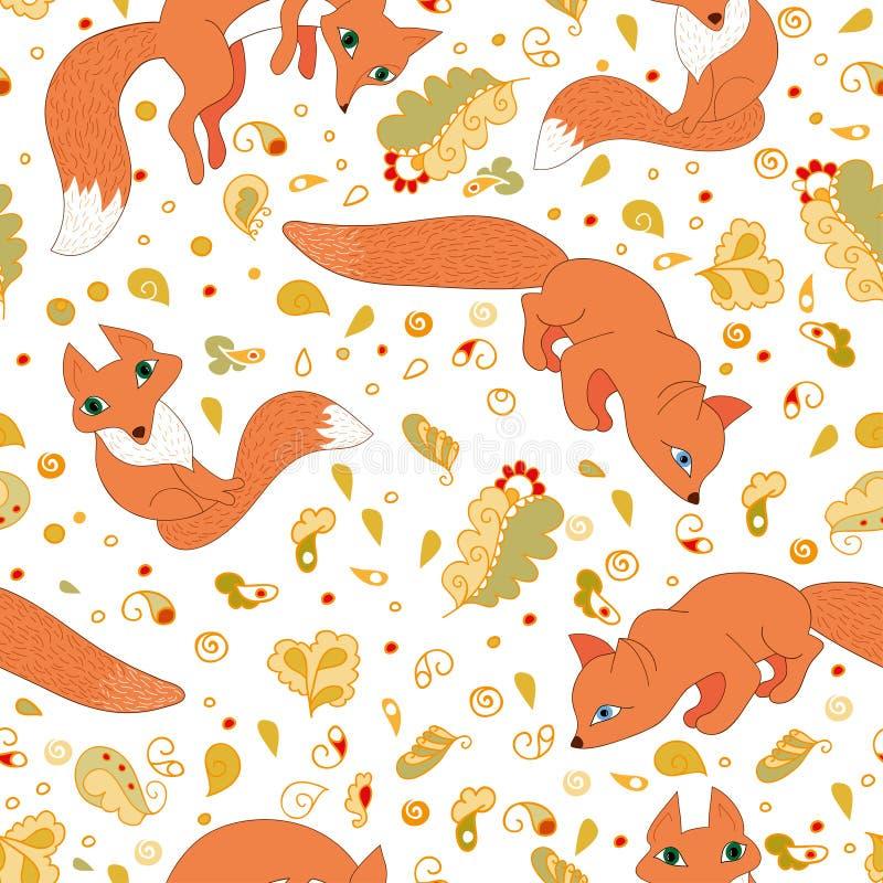 Bezszwowy wzór śliczni lisy i liście ilustracji