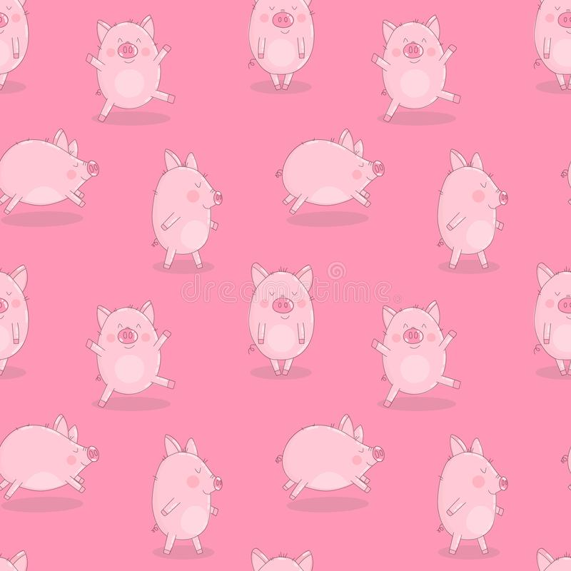 Bezszwowy wzór śmieszne świnie na odosobnionym różowym tle Wektorowa ilustracja prosiaczki dla nowego roku, druki, opakunkowy pap ilustracji