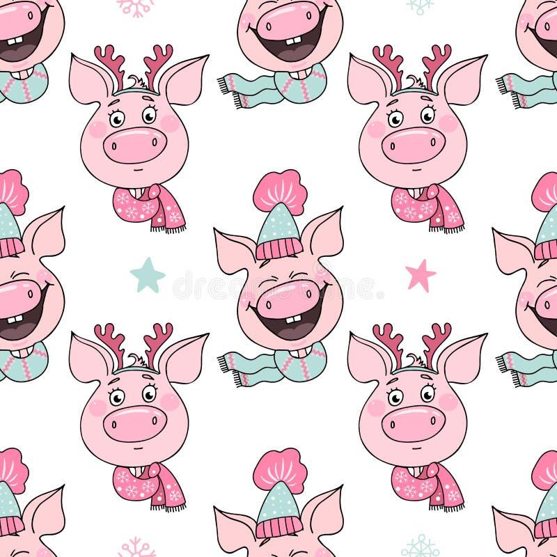 Bezszwowy wzór śmieszne świnie z emocjami radość i zawstydzenie royalty ilustracja
