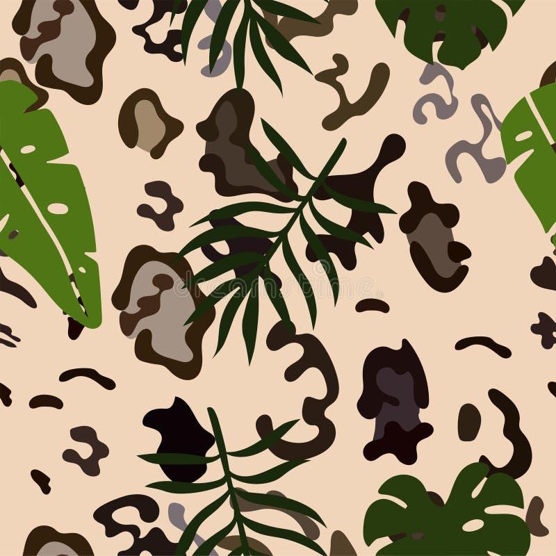 Bezszwowy wzór śnieżnego lamparta skóry i tropikalni liście rabatowy bobek opuszcza? d?bowego fabork?w szablonu wektor ilustracji