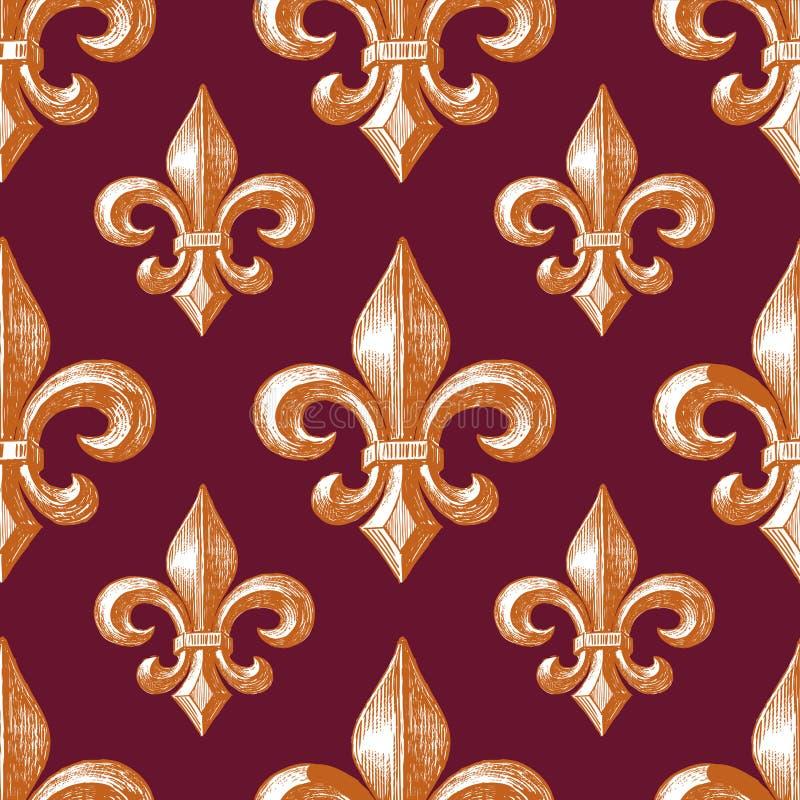 Bezszwowy wzór średniowieczny symbol Francuska leluja ilustracji