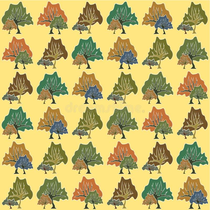 Bezszwowy wzór abstrakcjonistyczni drzewa ilustracja wektor