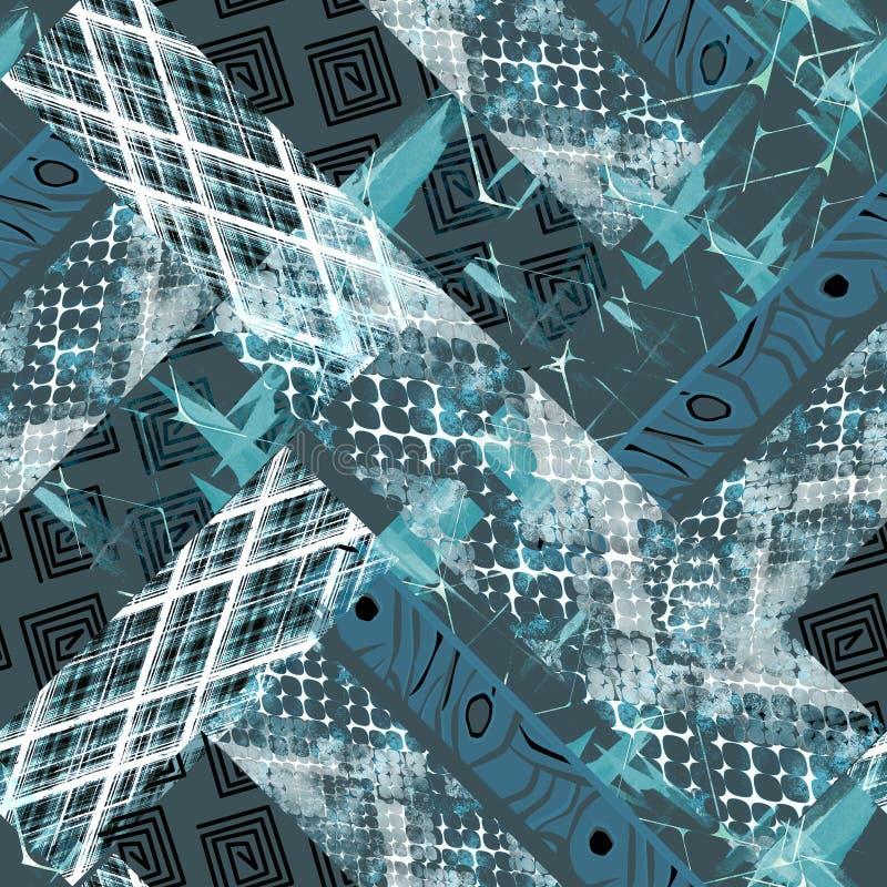 Bezszwowy wzór Afrykański projekt Jaskrawy tło z akwarela skutkiem, patchwork ilustracja wektor