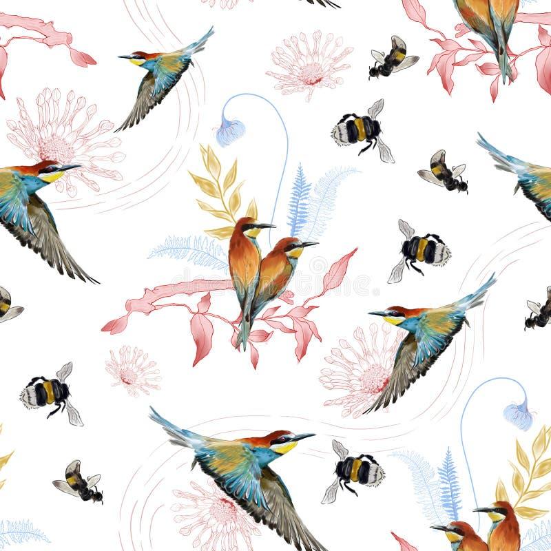 Bezszwowy wzór afrykański pszczoła zjadacz royalty ilustracja
