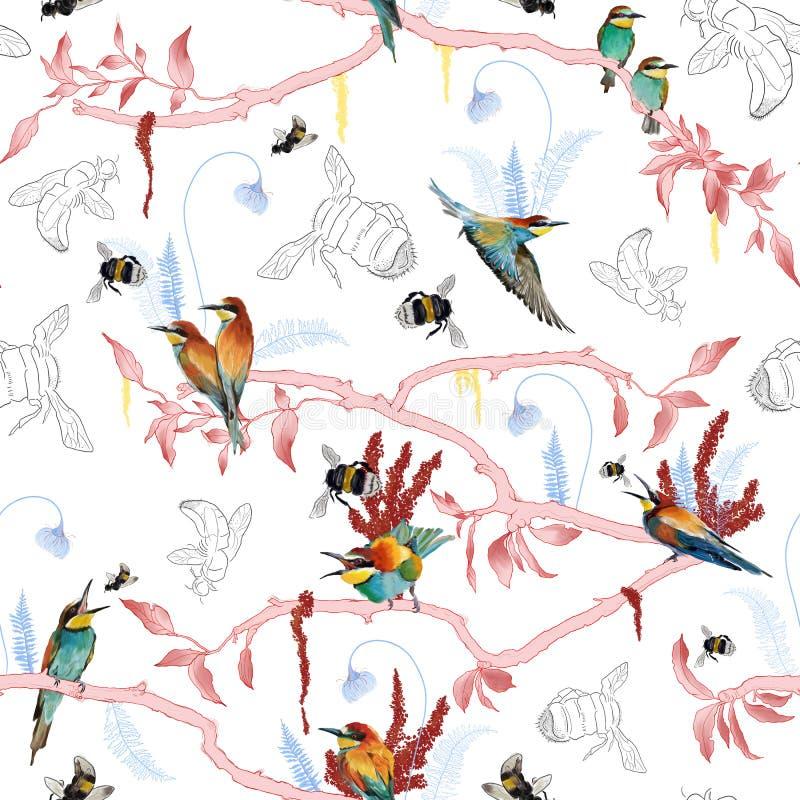 Bezszwowy wzór afrykański pszczoła zjadacz ilustracji