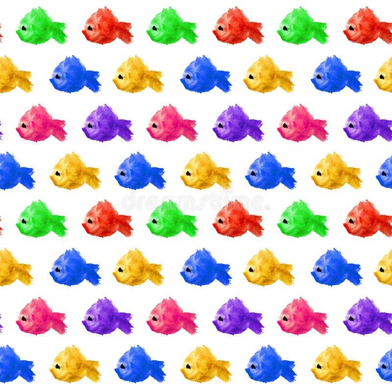 Bezszwowy wzór akwareli żółtej zieleni błękitnej czerwieni kleksa purpurowa plama w formie na a sylwetka ryba z podbitym okiem ilustracji