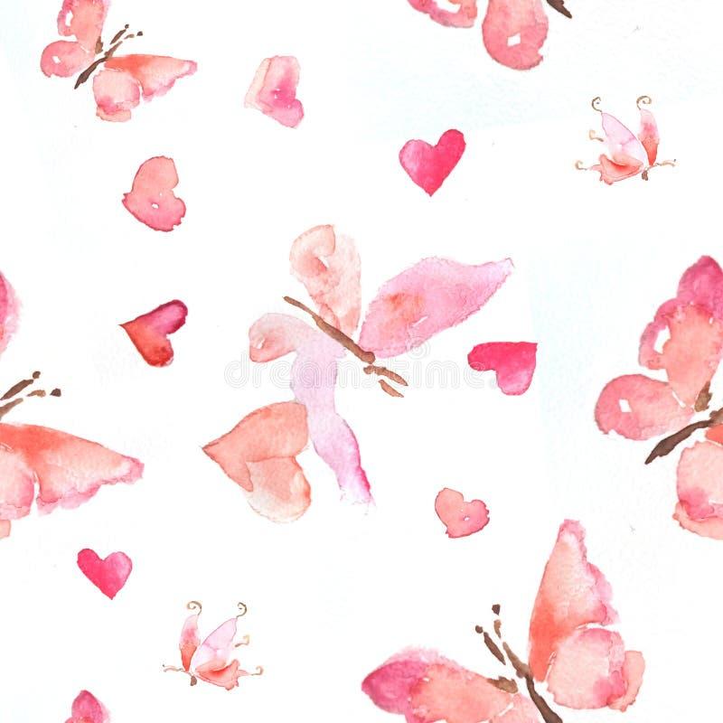 Bezszwowy wzór akwareli ilustracja różowi motyle z sercami ilustracja wektor