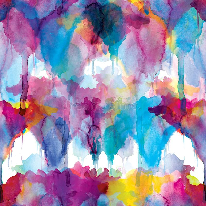 Bezszwowy wzór akwareli plamy: kolor żółty, menchia, purpurowi blotches na białym tle ilustracja wektor