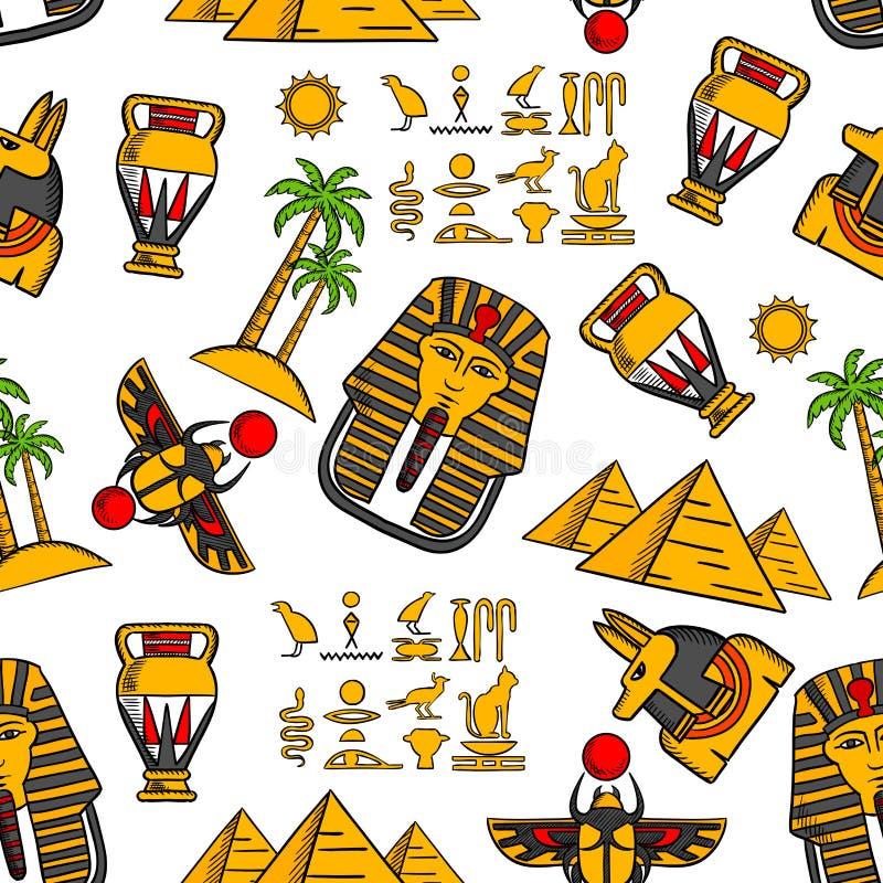 Bezszwowy wzór antyczni egipscy ornamenty ilustracja wektor