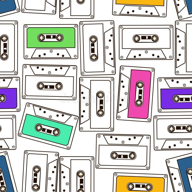 Bezszwowy wzór audio kasety taśmy ilustracji