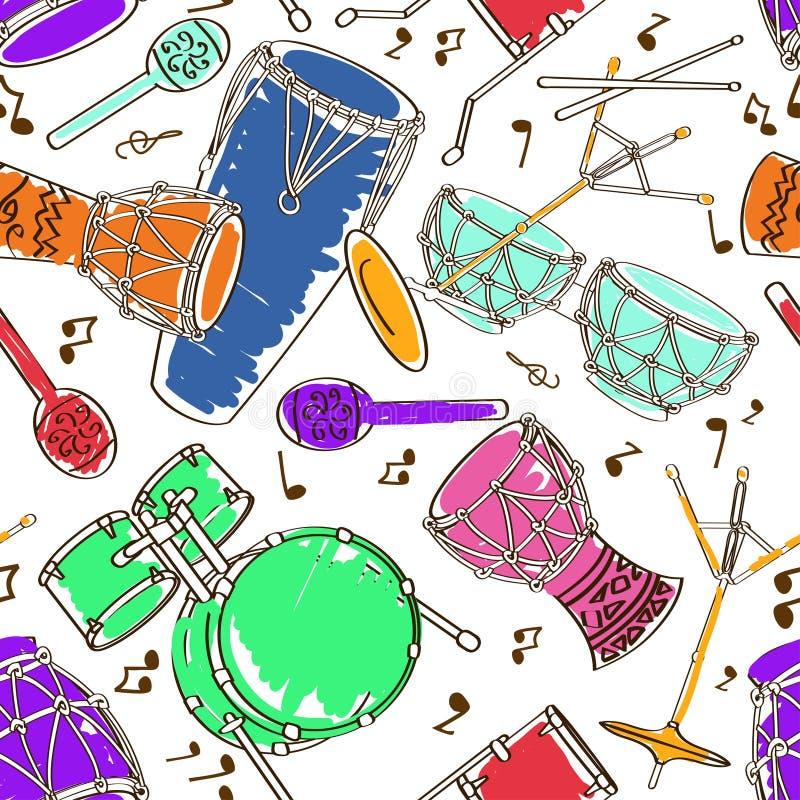 Bezszwowy wzór bębenu set royalty ilustracja