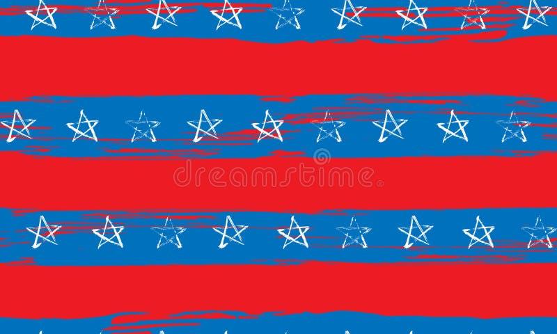 Bezszwowy wzór błękitnej czerwieni lampasów i gwiazd biały grunge royalty ilustracja