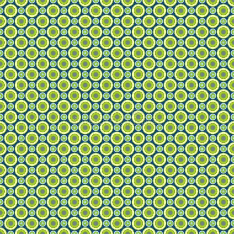 Bezszwowy wzór błękitny tło - barwioni pastelowi zielonożółci i błękit okręgi na zmroku - EPS Wektorowa kartoteka ilustracji