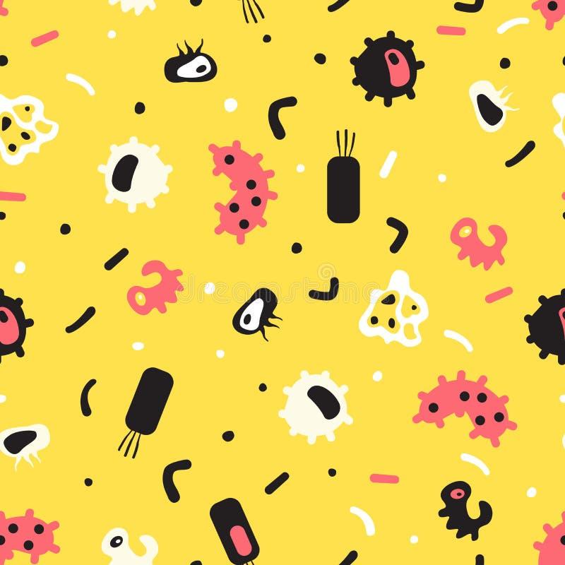 Bezszwowy wzór bakterie, wirus, komórki, zarazki, epidemiczny baci royalty ilustracja