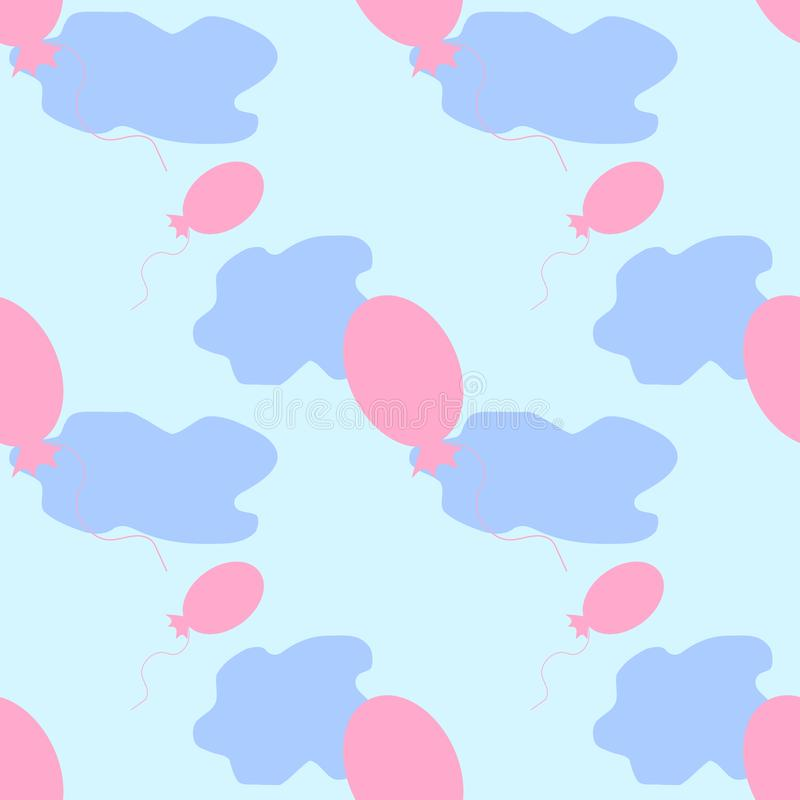 Bezszwowy wzór balony z chmurami w niebie royalty ilustracja